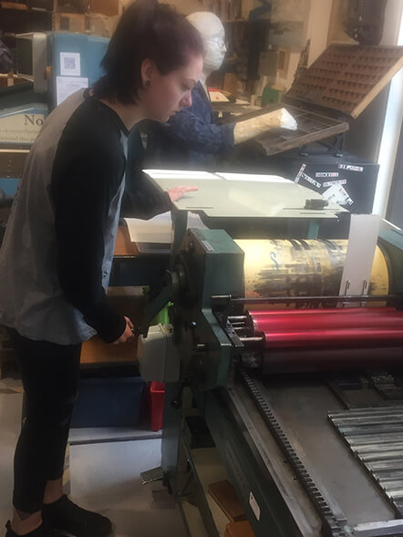 Working on the letterpress