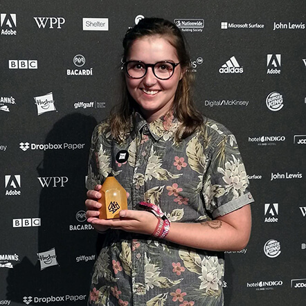 Sophie West with award